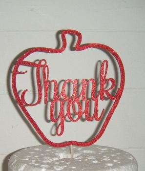Thank You apple shape Cake Topper