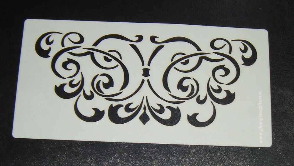 Ornate swirl Floral pattern airbrush Stencil