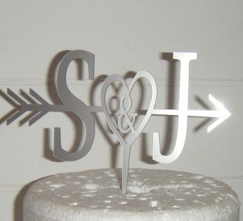 Arrow with Heart  Initials Letters Topper
