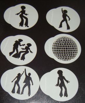 6 x Disco 70's designs cupcake Stencils