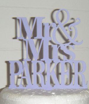 Mr + Mrs Name Cake Topper