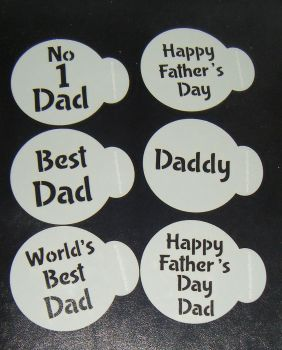 6 x Father's day Best Dad cupcake Stencils