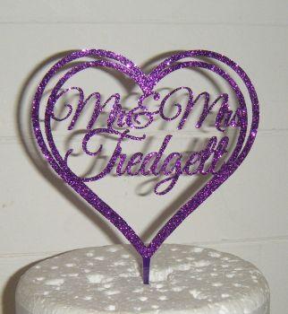 Mr + Mrs Name Heart  Cake Topper 3