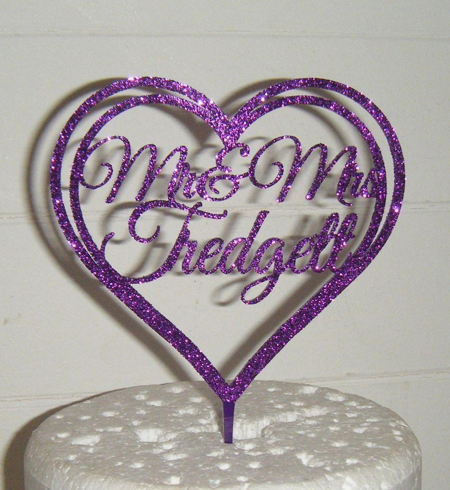 Mrs + Mr Name Heart  Cake Topper 3