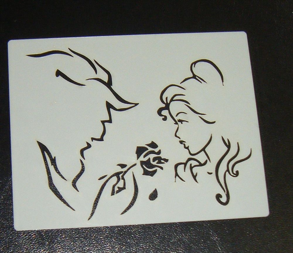 Beauty And The Beast Silhouette Airbrush Craft or Cake Stencil