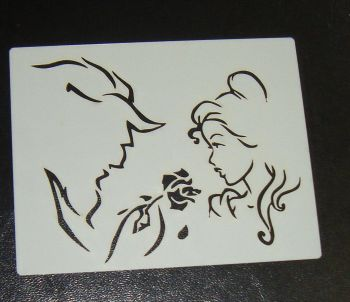Beauty and the beast silhouette airbrush craft cake Stencil