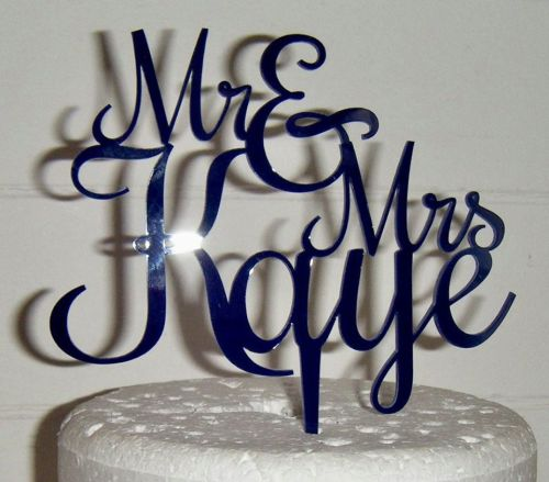 Mrs + Mr Name Rochester Cake Topper