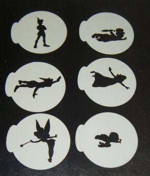 6 x Peter Pan wendy Tinkerbell designs cupcake Stencils