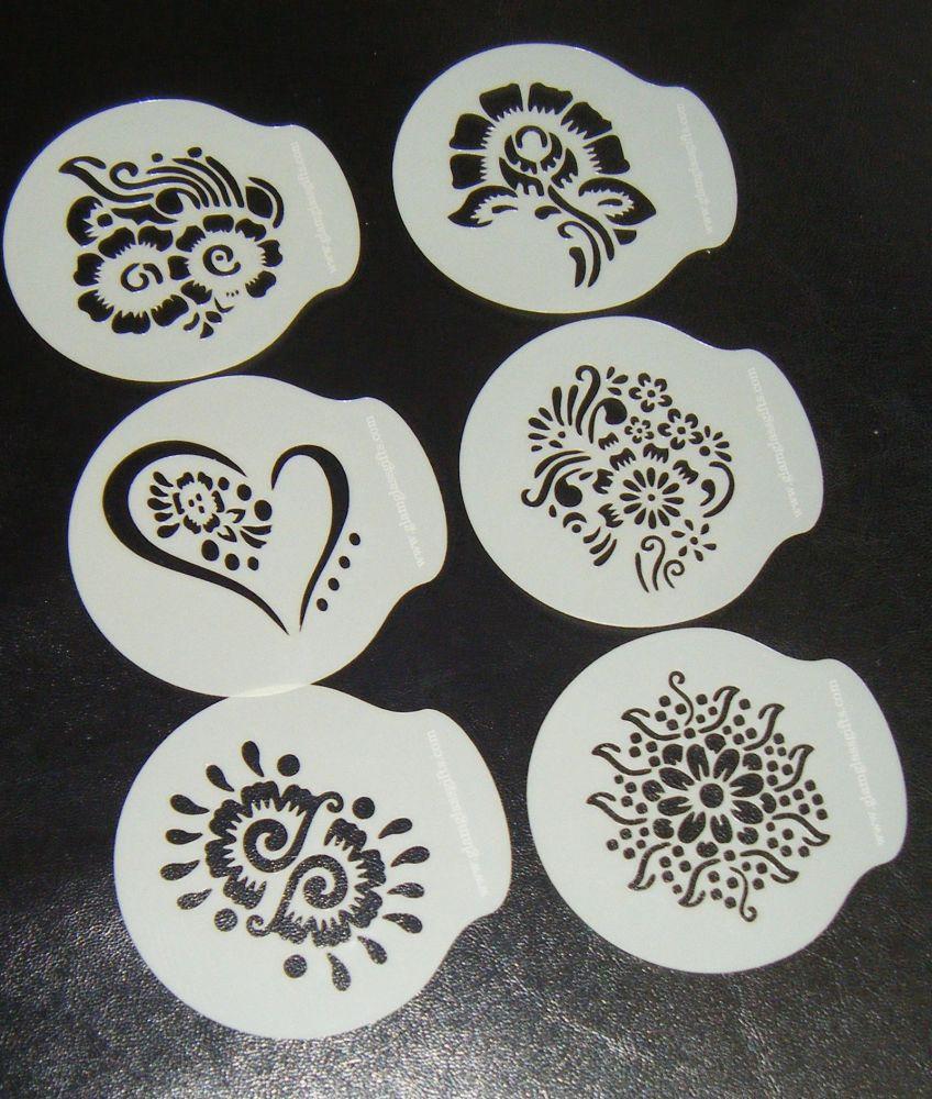 6 x Henna Designs Cupcake Stencils