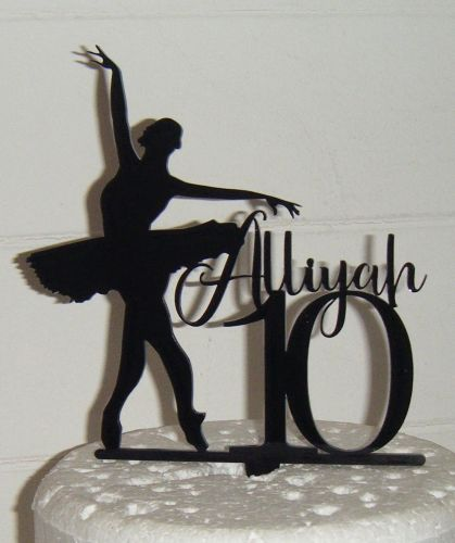 Name number and Ballerina silhouette  Topper Custom made