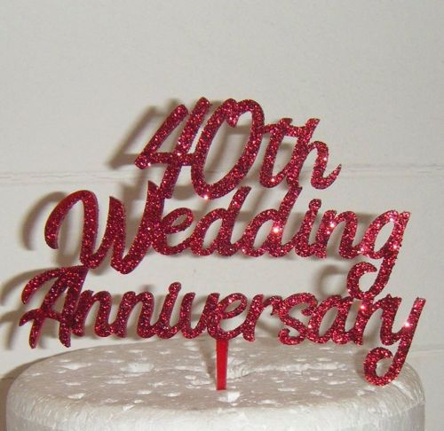 Happy 40th Anniversary Cake Topper
