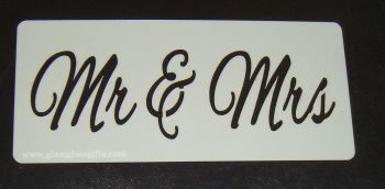 Mr & Mrs wording cake or craft stencil