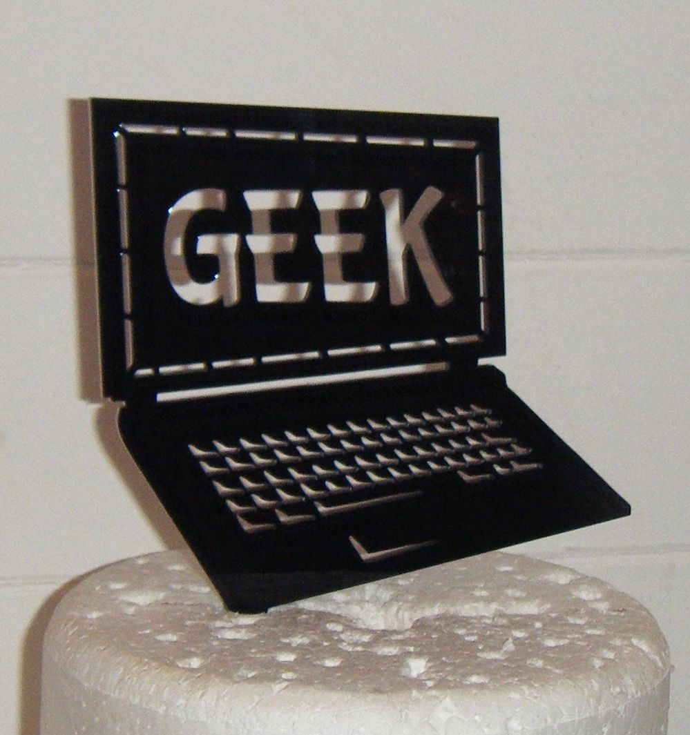 Computer Geek Silhouette Cake Topper