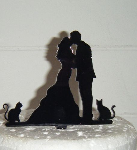 Wedding couple with cats Silhouette Cake Topper