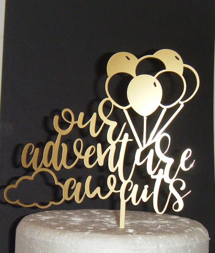 Our adventure awaits with balloons  Cake Topper