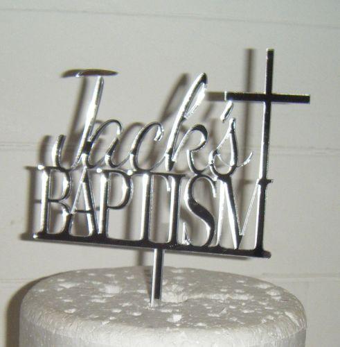 Baptism custom name  Cake topper with cross
