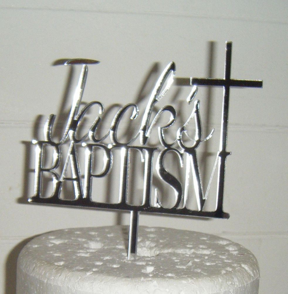Baptism Custom Name  Cake Topper with Cross