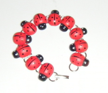 Red and Black Ladybird Silver Tone Bracelet