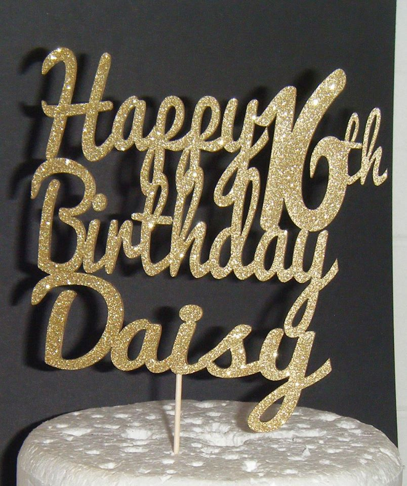 Happy number Birthday and Name  Topper Custom made 3