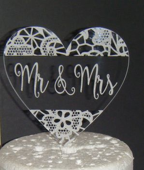 Mr + Mrs Lace effect CLEAR ENGRAVED Heart  Cake Topper   (or same sex)