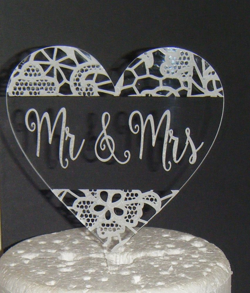 Mrs + Mr Lace effect CLEAR ENGRAVED Heart  Cake Topper