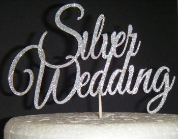 Silver Wedding  Cake Topper
