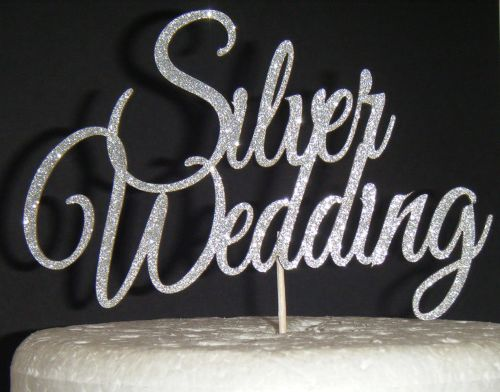 Silver Wedding  Cake Topper