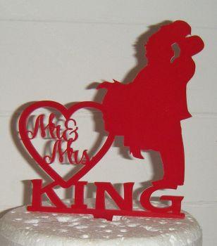 Mr + Mrs Wedding couple silhouette  custom Cake Topper