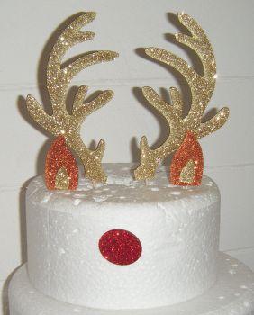 Rudolf Reindeer Antlers ears nose set Silhouette Cake Topper
