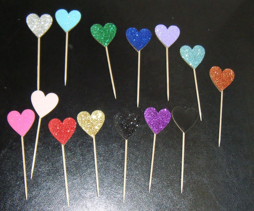 Lasercut Glitter or Plain Cupcake Cake Picks 3cm Hearts
