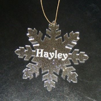 Personalised Snowflake Glittery Bauble Decoration