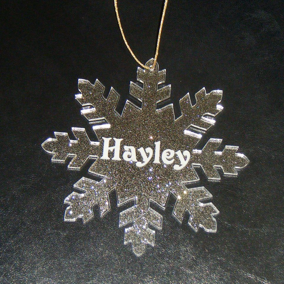 Personalised Large Snowflake Glittery Bauble Decoration