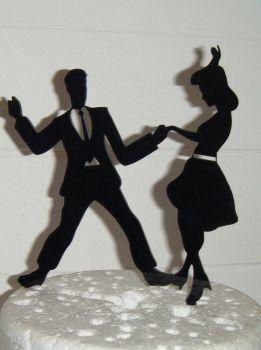 Jive Dancers Silhouette Cake Topper  2