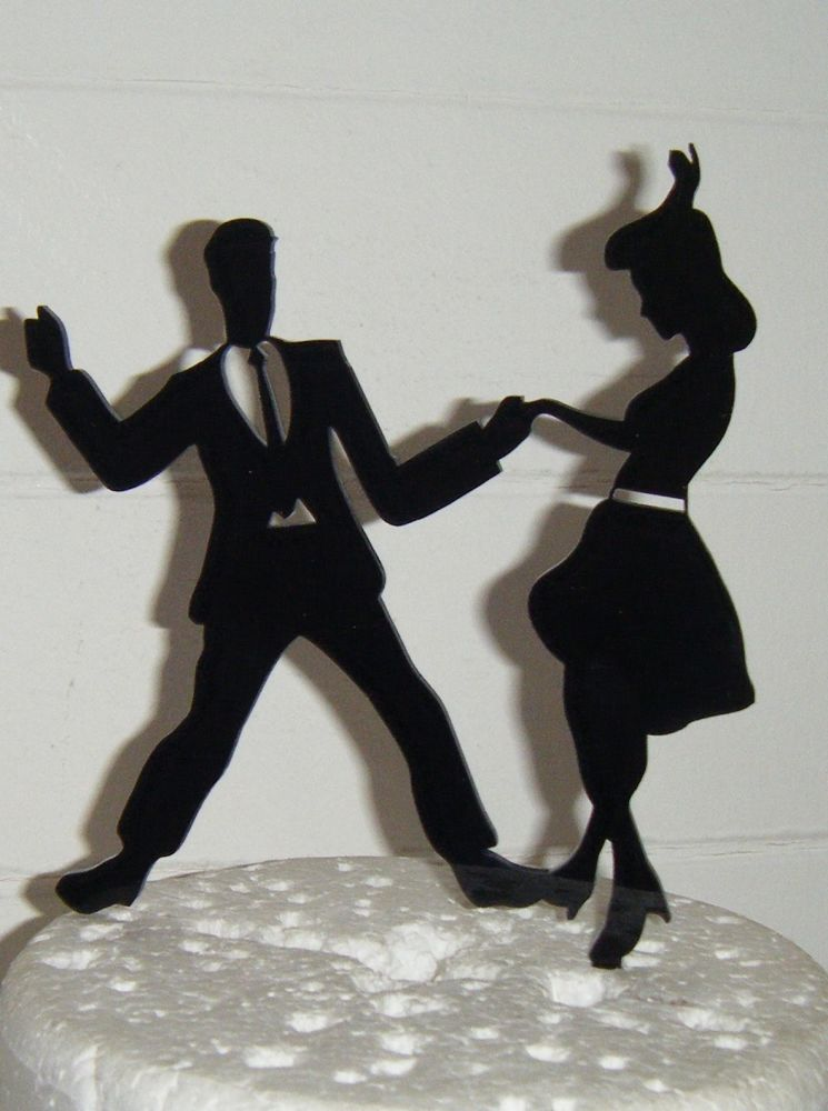 Jive Dancers Silhouette Cake Topper  2