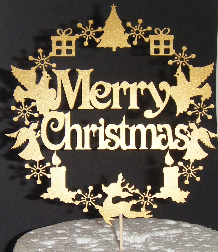 Merry Christmas Circle Cake Topper