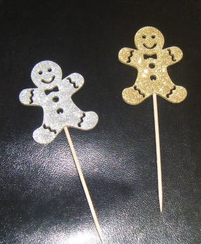 Glitter or Plain Card Gingerbread man cupcake picks
