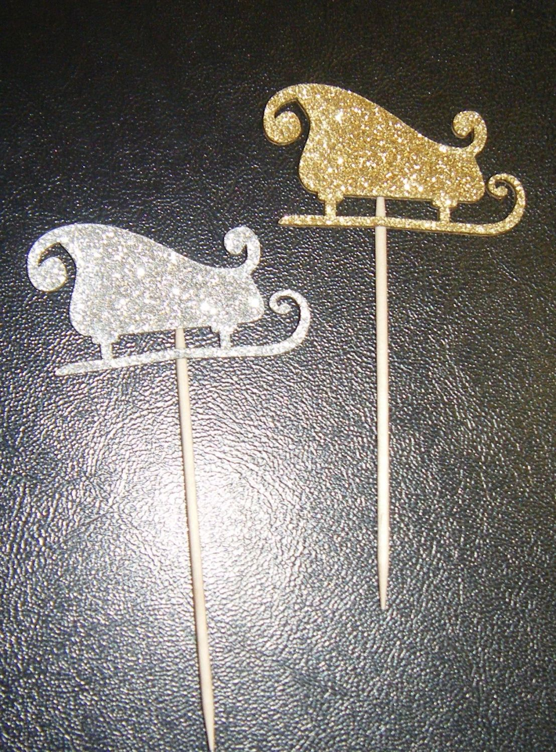 Glitter or Plain or patterned Card Santa sleigh cake picks