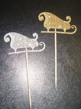 Glitter or Plain or patterned Card Santa sleigh cupcake picks