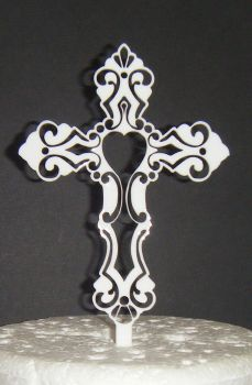 Baptism Christening Fancy Cross Cake Topper