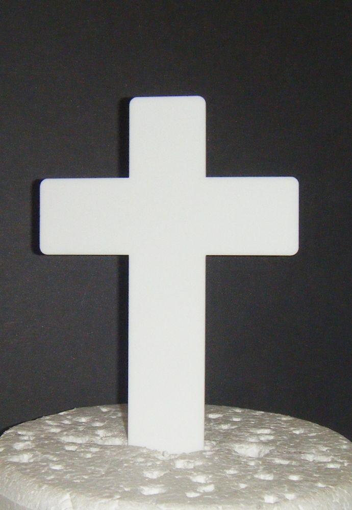 Baptism Christening Plain Cross Cake Topper