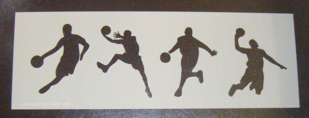 Basketball Players Design 2 Cake Decorating Stencil