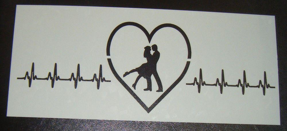 Couple heartbeat Cake Stencil Large 5 inch deep