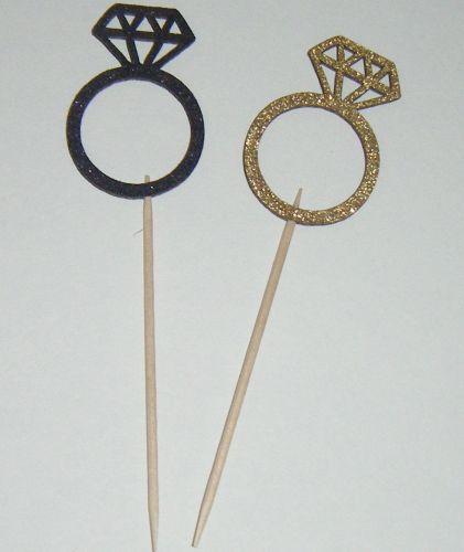 Glitter or Plain custom made Cupcake Cake picks - Engagement Ring