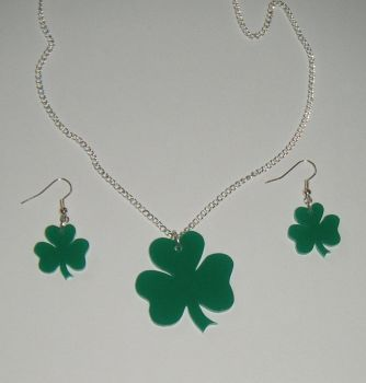 Shamrock Earring and Pendant set  Necklace
