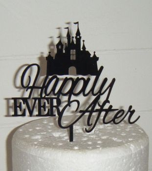 Happily ever after with castle Cake Topper