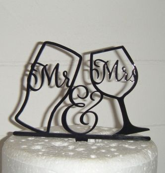 Mr & Mrs Pint Wine Glass Silhouette Cake Topper  (or same sex)