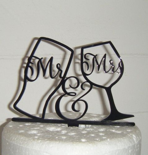 Mr & Mrs Pint Wine Glass Silhouette Cake Topper