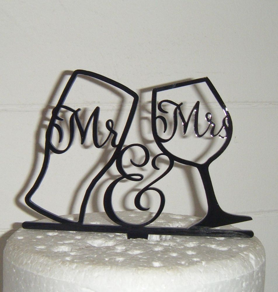 Mr & Mrs Pint Wine Glass Silhouette Cake Topper