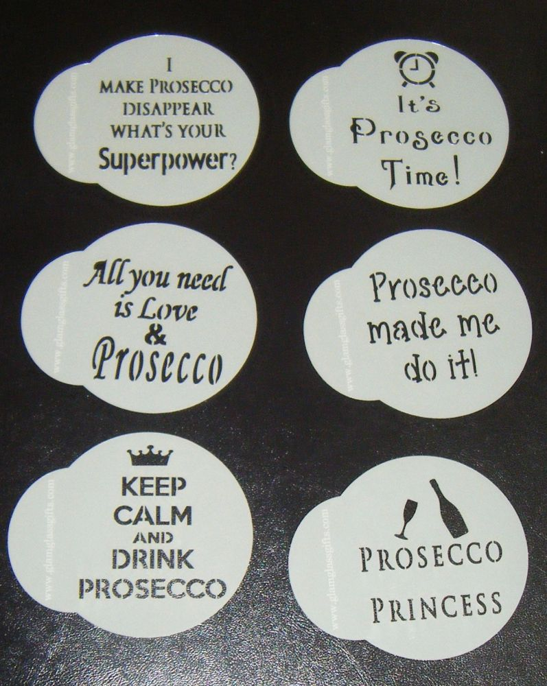 6 x Prosecco designs cupcake Stencils