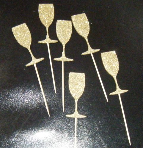 Glitter or Plain custom made Cupcake Cake picks - wine champagne glass